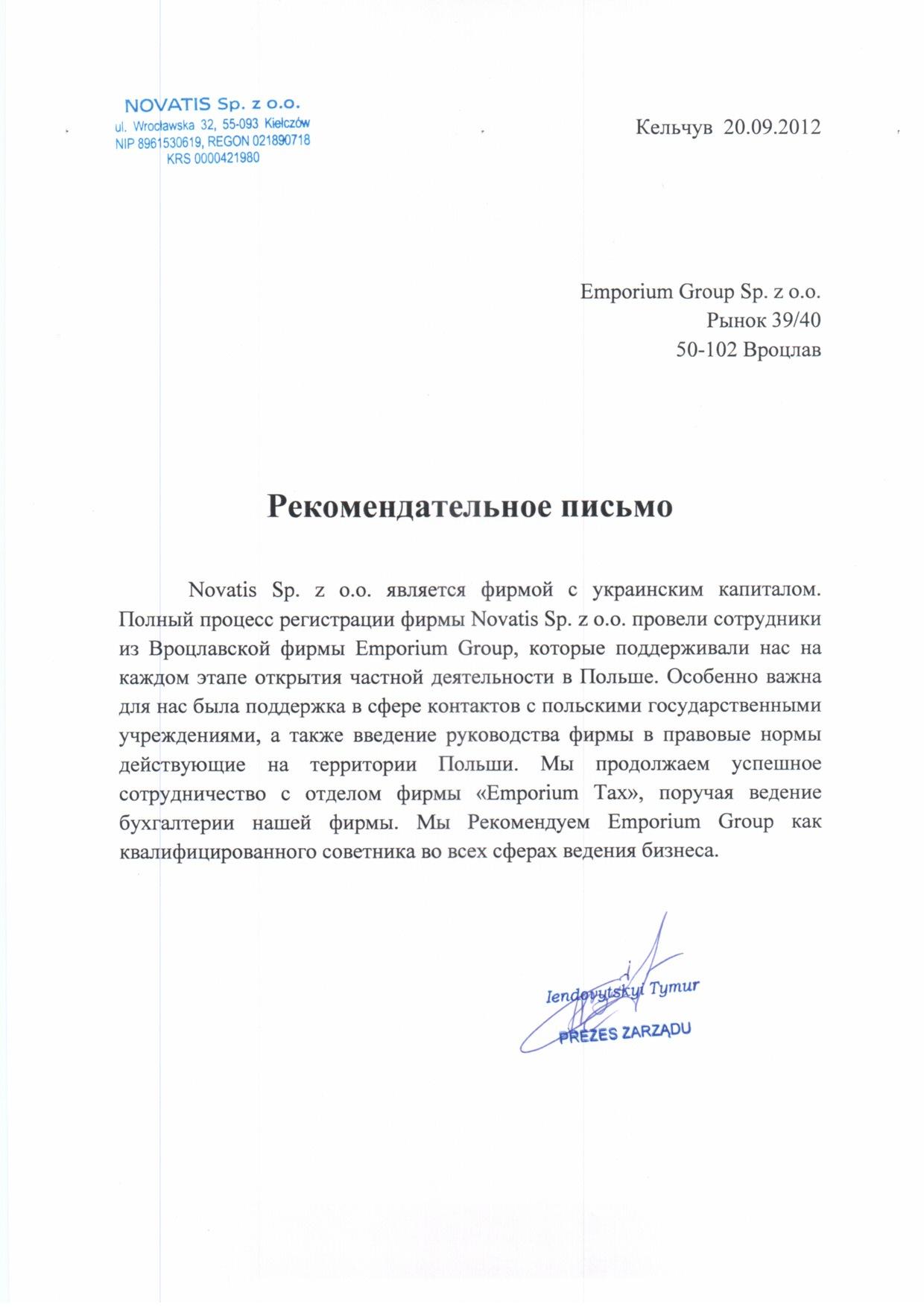 Referencje Novatis RUS